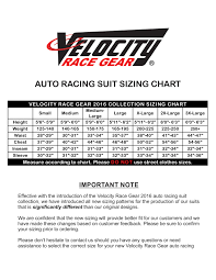 Velocity Race Gear Sizing Charts