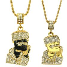 details about crystal iced out bart simpsons pendant gold chain necklace icy hip hop rapper uk