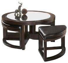 Captivating Homelegance Brussel Round Cocktail Table With 4 Ottomans Coffee Tables Nice Design