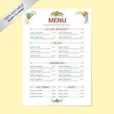 Free Menu Templates Lunch Template School Word Jaxos Co