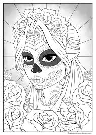 Sugar Skull Girl Colouring Page By