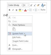 insert the word count in your document word update field command