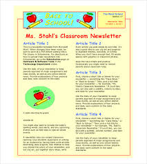School Newsletter Template For Word Classroom Newsletter Template 9 Free Word Pdf Documents Download