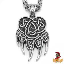 details about bavipower viking bear paw pendant necklace with celtic knot pattern