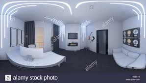 virtual home office. 3d Illustration Of Interior Design A Home Office In Space Style. Render Executed, 360 Degree Spherical Seamless Panorama For Virtual Reality F