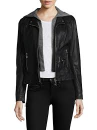 doma leather hooded jacket black women s