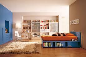 Kids Bed With Bookshelf Boys Bedroom Endearing Orange Sheet Platform Bed With Orange