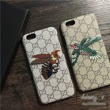 gucci iphone 7 plus case. name:gucci pattern embroidery bumblebee leather case hard back cover for iphone 7 plus - gray gucci iphone