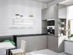 nice grey kitchens design ideas with grey hardwood kitchen cabinet set also modern breakfast table set in small space apartment kitchen ideas