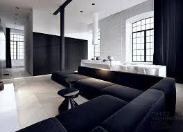 modern black white minimalist furniture interior.  interior trend white home interior design with black l shaped sofa in modern minimalist furniture d