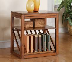 small chairside table. DIY Oak Chairside Table With Bookshelf Rack And Small Rattan Basket Storage Ideas