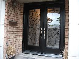 black double front doors. Wrought Iron Fiberglass Double Doors With Multi Point Locks Installed In Toronto By Front Entry 119 Black