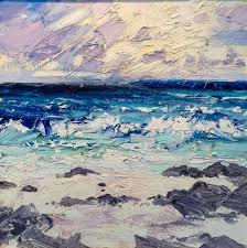 paul treasure abstract painting rocky beach abstract landscape oil painting