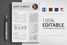 Professional Design Resume Professional Cv Resume Word Design