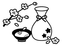 桃の花と甘酒の白黒イラスト かわいい無料の白黒イラスト モノぽっと