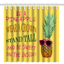Wknoon 72 X 72 Inch Shower Curtainfunny Pineapple Quotes Wear A Crown Stand Tall Be Sweet Insidewaterproof Polyester Fabric Decorative Bathroom Bath