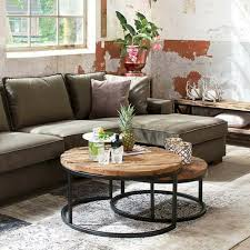 details about sleeper wood reclaimed wooden iron industrial nested round coffee tables set two