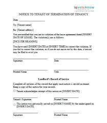 Residential Rental Lease Agreement Notice Of Violation Example ...