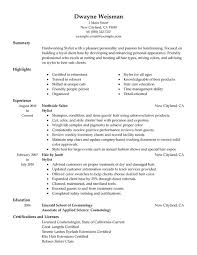 stylist salon spa fitness resume sample
