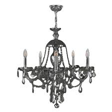 worldwide lighting provence collection 5 light chrome and smoke crystal chandelier