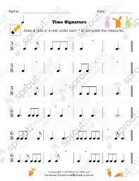 Music Worksheet Categories Time Signatures