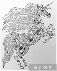 Poster Getrokken Magic Unicorn Voor Volwassen Anti Stress Kleurplaat