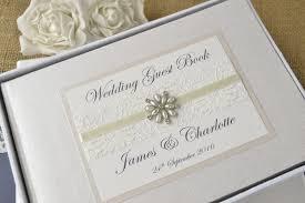 elegant ivory personalised wedding guest book ♥ choice of jewel ivory personalised wedding guest book vintage lace jewel wedding guest book