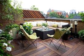 modern patio decorating ideas. Contemporary Modern Modern Patio Decorating Ideas For Terraced Complete With Wicker Bench  Plus Cushions And Table Also Butterfly Chair Decorated Flower Vase  To O