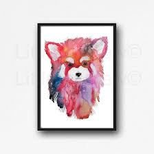 red panda portrait watercolor painting print watercolour wall decor on red panda wall art with buy red panda portrait watercolor painting print watercolour wall
