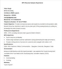 Sample Bpo Resume | Resume CV Cover Letter