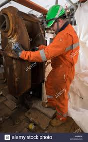 Ndt Inspector Weld Thickness Checking On A North Sea Oil