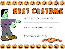 Costume Contest Certificate Template Most Costume Award Template Halloween Contest Score Sheet