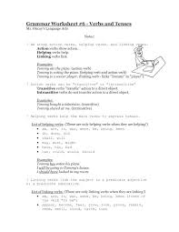 List Of Action Verbs Helping Verb Worksheets Middle School Free Vocabulary Action Verbs
