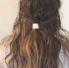 leather hair cuff ponytail holder in rose gold size 3inches