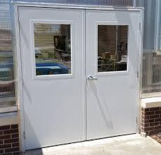 opening up to metal walk through doors