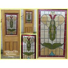 art nouveau stained glass panel