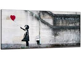 Large Prints Cheap Banksy Large Canvas Prints Girl With The Red Balloon For Dining Room