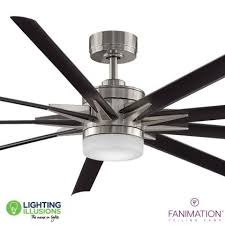 brushed nickel and black blades fanimation odyn 84 dc industrial ceiling fan with 18w led light and remote control lighting illusions