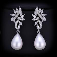 chandelier pearl drop bridal earrings dangling cz long vintage silver earrings