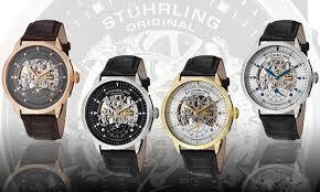new stuhrling original men 039 s skeleton executive watch stuhrling original men s skeleton executive watch silver tone bezel white face