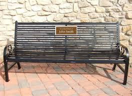 black broadway memorial bench with bronze plaque