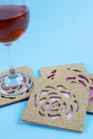 use ikea avskild placemats to create these simple rose cut out cork coasters for your next
