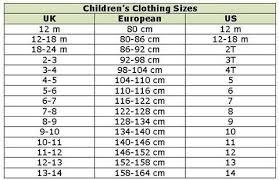 Kids Cloth Size Chart Size Chart Joelinks Store