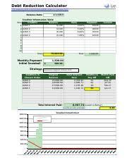 Debt Reduction Calculator Template Debt Reduction