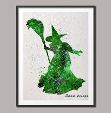 original watercolor the wizard of oz wicked witch wall art poster print picture canvas painting home on wizard of oz wall art with original watercolor the wizard of oz wicked witch wall art poster