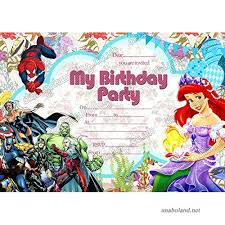 Disney Princess Ariel Super Hero Birthday Party Invitations Pack 10