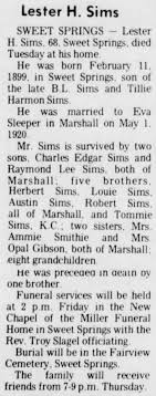 Sims, Raymonds dad obit - Newspapers.com