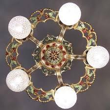 971 vintage 20s 30s ceiling light art nouveau polychrome chandelier virden
