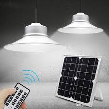 2019 solar powered pendant lights led solar shed light outdoor garden patio light solar barn light remote control hanging lamp for indoor outdoo from