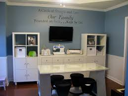 office room ideas. Adjustable Home Office Decor Ideas With Blue Painted Wall Combine Quotes Art Also White Gloss Room